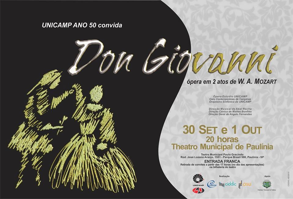 'Sinfônica da Unicamp' e 'Ópera Estúdio' apresentam 'Don Giovanni', de Mozart